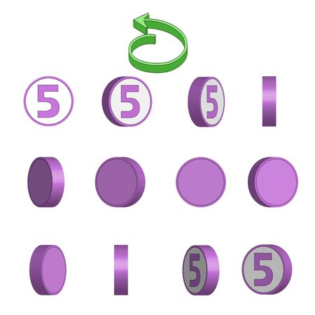 Number 5 in circle rotation sequence sprite sheet on white background. Vector illustration.
