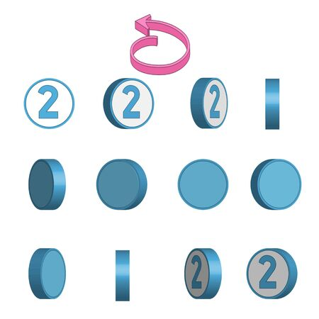 Number 2 in circle rotation sequence sprite sheet on white background. Vector illustration. Иллюстрация