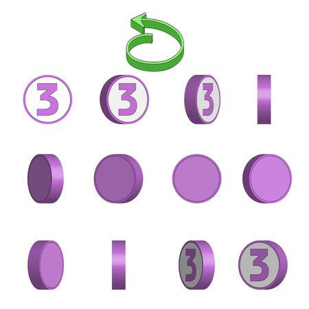 Number 3 in circle rotation sequence sprite sheet on white background. Vector illustration.