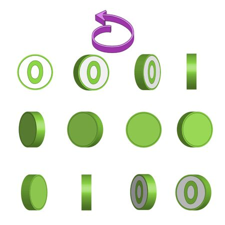 Number 0 in circle rotation sequence sprite sheet on white background. Vector illustration