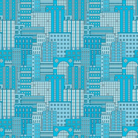 Seamless patten with urban landscape. Town, city, skyscapers. Blue vector illustration.