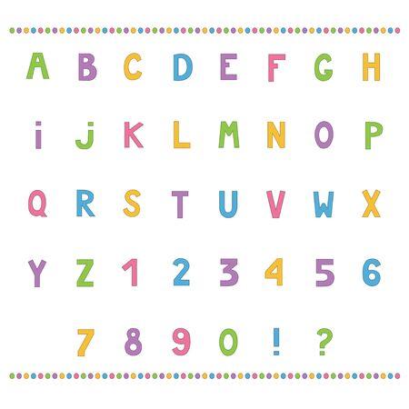 Colorful simple alphabet set isolated on white background. Vector illustration Ilustracja