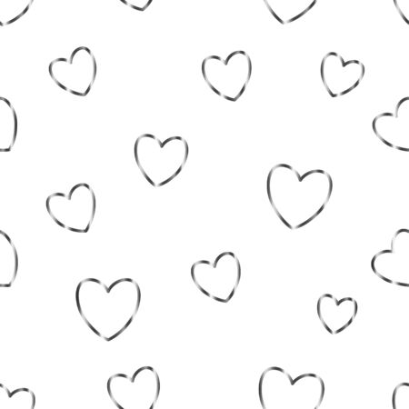 Seamless pattern with cute silver simple grey framed hearts on white background. Vector illustration