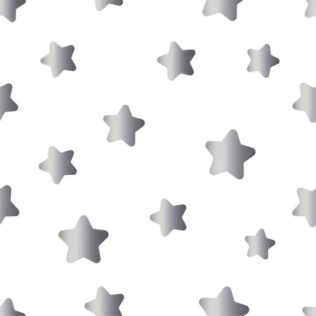 Seamless pattern with grey silver gradient stars on white background. Vector illustration