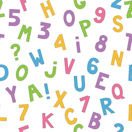 Seamless pattern with cartoon letters and numbers. Vector
