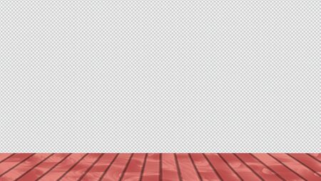 Horizontal vector 3d interior with floor with red wood boards and checker transparent wall. Ilustracja