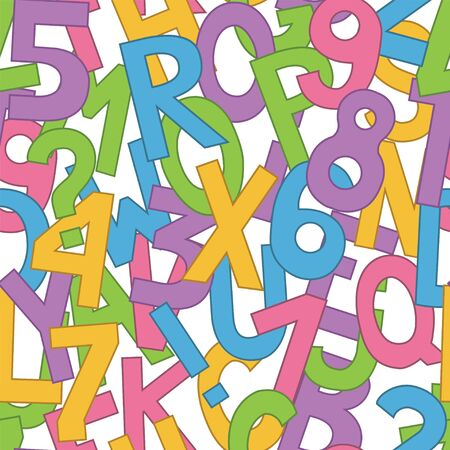 Seamless pattern with big letters and numbers. Vector
