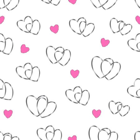 Vector seamless pattern with shiny silver hearts