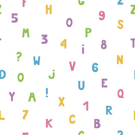 Seamless pattern with letters and numbers. Vector Illusztráció