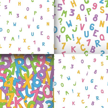 Set of seamless patterns with multicolored english letters and numbers on white background. Vector.