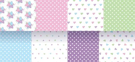 Set of seamless patterns with hearts and polka dot. Delicate pastel colors. Vector.
