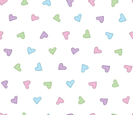 Seamless pattern with simple cute hearts. Pastel cute colors. Vector. Ilustracja