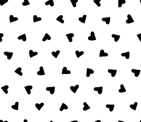 Seamless pattern with simple cute hearts. Black and white illustration. Vector.