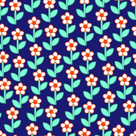 Seamless ditsy spring pattern with cute flowers. Vector
