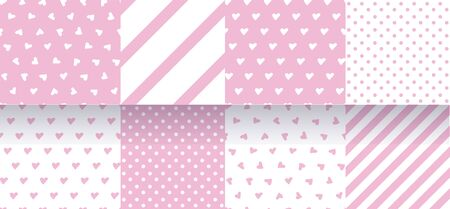 Set of pink seamless patterns with hearts, stripes and polka dot. Delicate pastel colors. Vector Ilustracja
