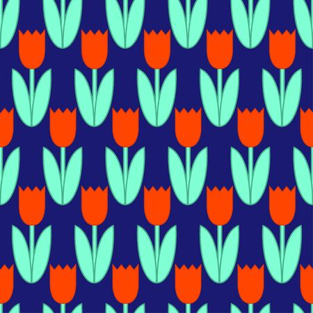 Seamless ditsy spring pattern with cute flowers tulips Vector