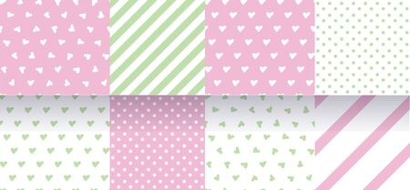 Set of pink, green seamless patterns with hearts, stripes and polka dot. Delicate pastel colors. Vector