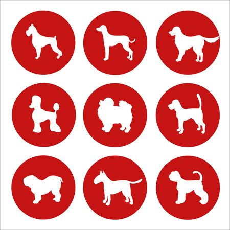 Sign dogs forbidden. White silhouettes of dog on red circles isolated. Set. Vector. Illusztráció