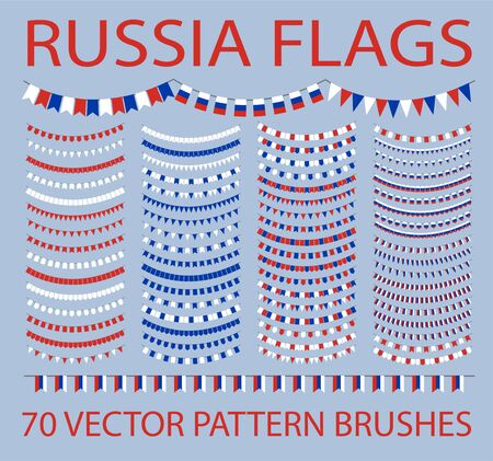 Set of 50 vector pattern brushes. Garland of russian flags. Russia. Ilustracja