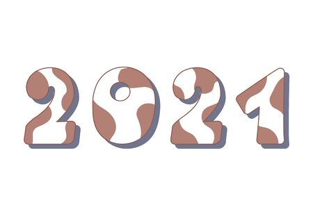 2021 new year of ox. Numbers with cow pattern isolated on white background.