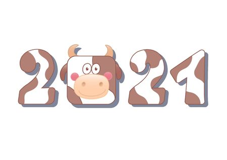 2021 new year of ox. Numbers with cow pattern isolated on white background. Square funny animal. Vector