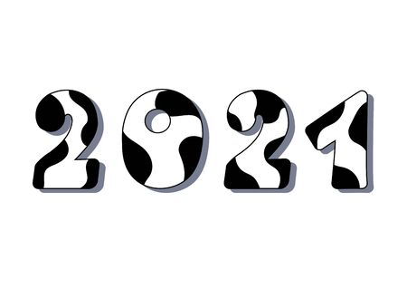2021 new year of ox. Numbers with cow black pattern isolated on white background.