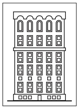 Contour building isolated on white background. Apartment or office. Vector illustration. Black frame. Ilustracja