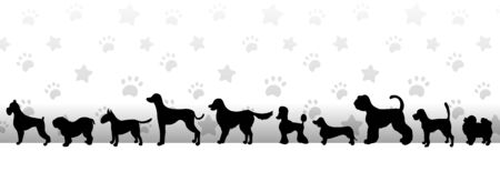 Header with black dog silhouettes on light background with stars and paws. Horizontal vector illustration
