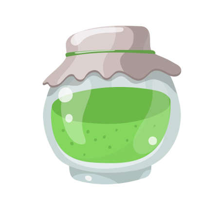 Preserved food. Glass jar with abstract green jam, isolated on white background. Cartoon vector illustration.