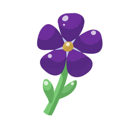 Cartoon violet flower with five petals isolated on white background. Vector illustration.