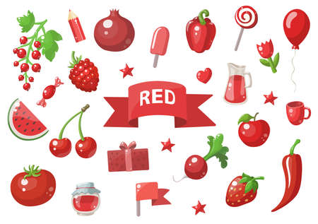 Big set of red vector objects isolated on white. Fruits, vegetables, food, stars, gifts, balloon and other. Good for color learning.