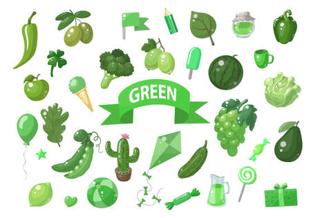 Big set of green vector objects isolated on white. Fruits, vegetables, food, stars, gifts, balloon and other. Good for color learning.