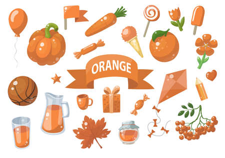 Big set of orange vector objects isolated on white. Fruits, vegetables, food, stars, gifts, balloon and other. Good for color learning. Ilustracja