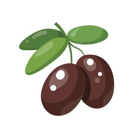 Two olives on a leafy green twig for vegetarian food concept design, cartoon illustration isolated on white Vektoros illusztráció