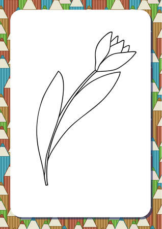 Cute cartoon flower. Tulip. Isolated on white background. Vector illustration. Can be used for coloring books. Printable a4 portrait page. Vertical orientation. Background with pencils