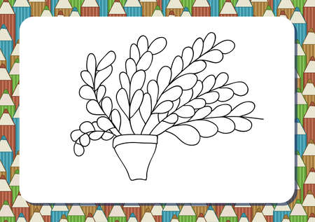 Cute cartoon flowers in pot. Isolated on white background. Vector illustration. Can be used for coloring books. Printable a4 landscape page. Horizontal orientation. Background with pencils