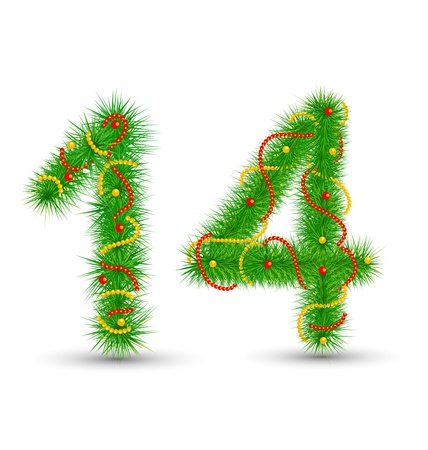 Vector Christmas numbers 1,4 the green spruce garlands and necklaces