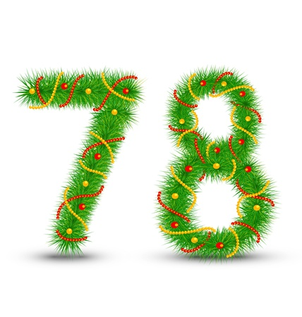Vector Christmas numbers 7,8 the green spruce garlands and necklaces Illustration