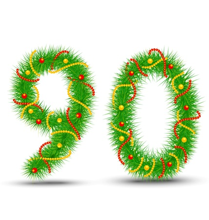 Vector Christmas numbers 9,0 the green spruce garlands and necklaces Stock Vector - 14719563