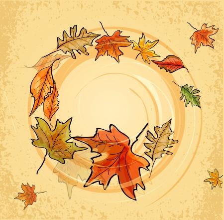 autumn leaf frame: Vector vintage fondo con hojas de oto�o