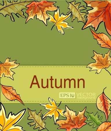 brown swirl: Green Vector abstract background with autumn leaves Illustration