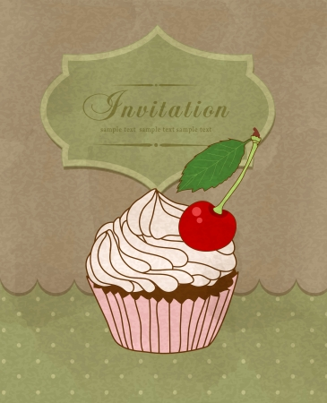 vintage greeting card with a birthday cake Stock Vector - 15494984