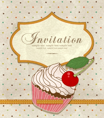 birthday cupcake: Vector vintage greeting card with a birthday cake