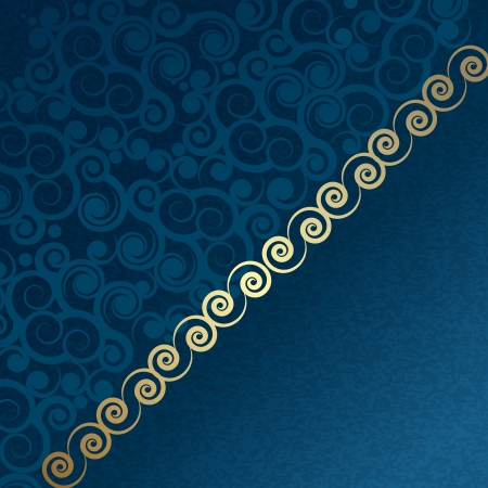 vintage blue and gold background with patterns Vector
