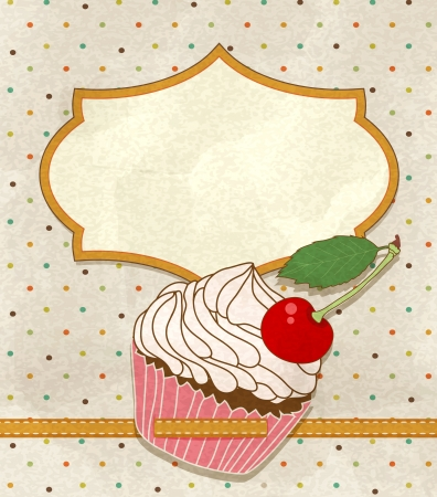 vintage greeting card with a birthday cake Vector