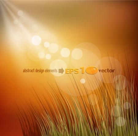 idyllic autumn  background with grass Illustration