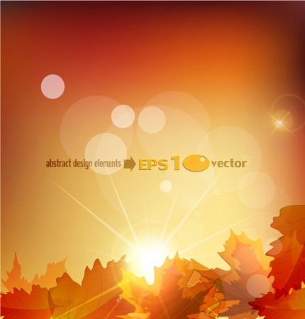 abstract  autumn background with leafs and sun Illustration