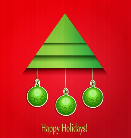 background Christmas tree and balls Vector
