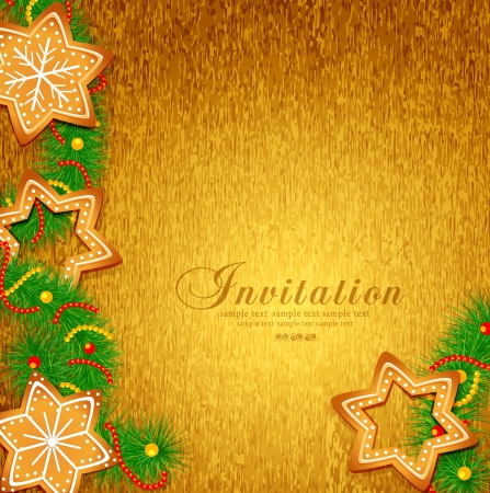 Christmas background with sweets and Christmas tree Vector
