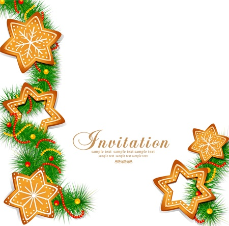 lebkuchen: Weihnachten Hintergrund mit S��igkeiten und Weihnachtsbaum auf dem wei�en Hintergrund Illustration